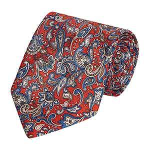 Navy, Crimson and White Paisley Print Silk Tie