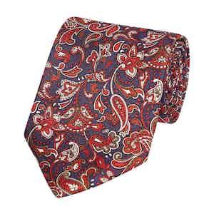 Royal Blue Fine Floral Print Silk Tie