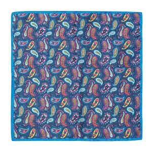 Royal Blue, Fuschia and Cyan Paisley Print Silk Pocket Square