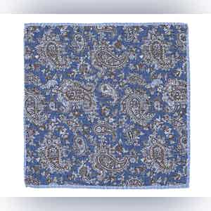 Navy, Chocolate And Sky Blue Paisley Linen Pocket Square