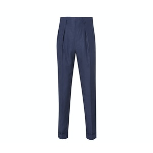 Navy Hollywood Top Pleated Linen Trousers