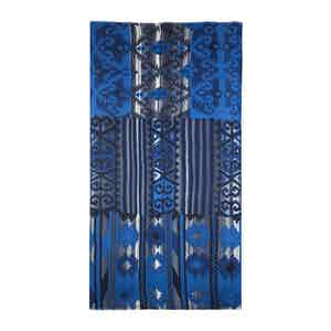 Blue and Grey Kelim Print Cashmere Pashmina