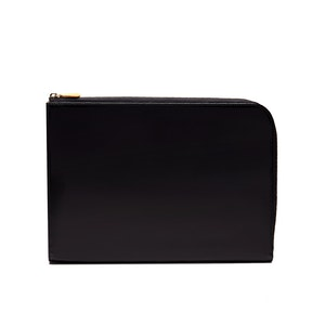 Black Bridle Hide Leather Zip Portfolio