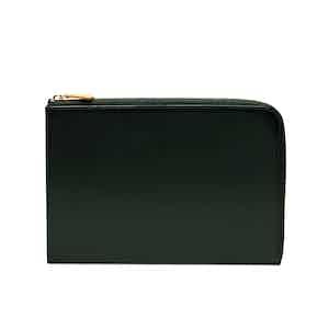 Dark Green Bridle Hide Leather Zip Medium Pouch