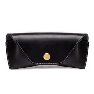 Black Dressed Calf Leather Spectrum Glasses Case