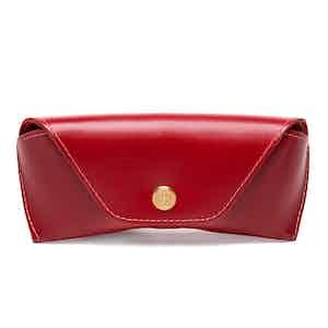 Red Dressed Calf Leather Spectrum Glasses Case