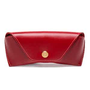Red Dressed Calf Leather Spectrum Glasses Case