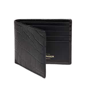 Black Croco Billfold Glazed Cowhide Leather Wallet