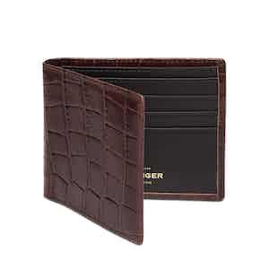 Mahogany Croco Billfold Glazed Cowhide Leather Wallet