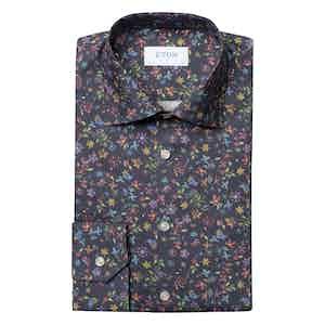 Navy Valley of Flowers Slim Cotton Shirt