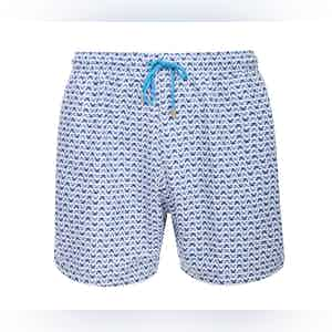 Blue, White and Grey Panarea Crab Print Swimming Shorts