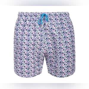 White Pink and Blue Panarea Floral Print Swimming Shorts