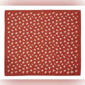 Red and White Diano Silhouette Floral Pattern Silk and Cotton Pocket Square
