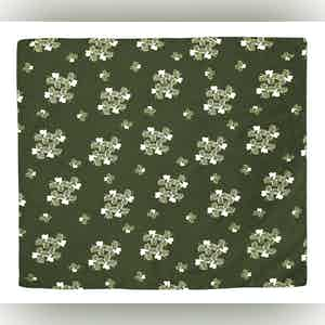 Green and White Diano Illustrated Floral Pattern Silk and Cotton Neckerchief