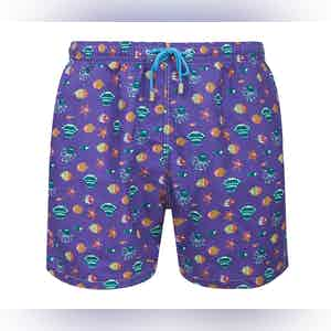 Purple Stromboli Fish and Shell Print Swimming Shorts