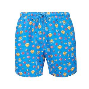 Light Blue Stromboli Fish and Shell Print Swimming Shorts