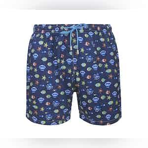 Navy Stromboli Fish and Shell Print Swimming Shorts