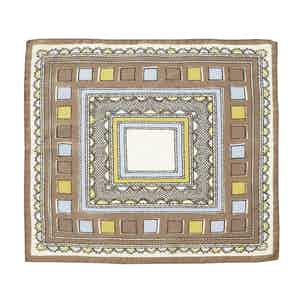 Blue and Brown Valle Square Pattern Silk and Cotton Pocket Square