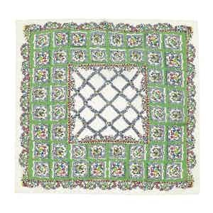 Green and White Valle Floral Square Pattern Silk and Cotton Pocket Square