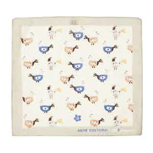 Grey Tiglio Chicken Pattern Cotton Pocket Square