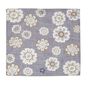 Light Blue Tiglio Large Flower Pattern Cotton Pocket Square