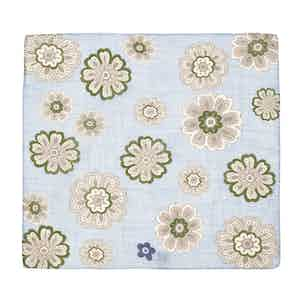 Light Blue and Green Tiglio Large Flower Pattern Cotton Pocket Square