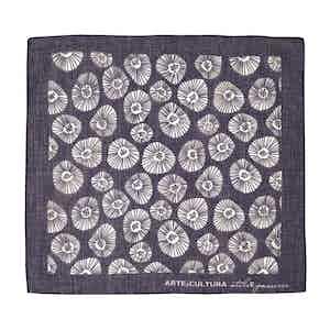 Light Blue and White Tiglio Arte Cultura Pattern Cotton Pocket Square