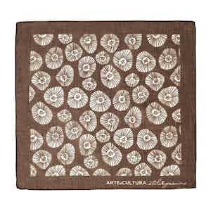 Brown and White Tiglio Arte Cultura Pattern Cotton Pocket Square