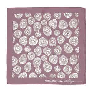 Pink and White Tiglio Arte Cultura Pattern Cotton Pocket Square