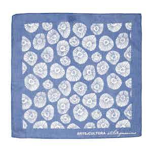 Blue and White Tiglio Arte Cultura Pattern Cotton Pocket Square