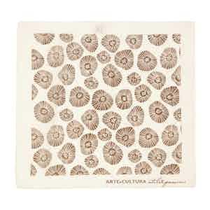 Brown and Cream Tiglio Arte Cultura Pattern Cotton Pocket Square