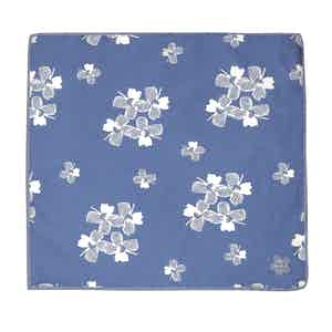 Blue and White Salice Floral Pattern Silk and Cotton Pocket Square