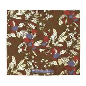 Brown, Blue and Red Salice Leaf Pattern Silk and Cotton Pocket Square