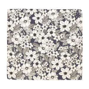 Navy and White Salice Illustrated Floral Pattern Silk and Cotton Pocket Square