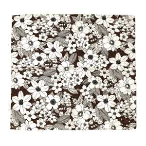 Brown and White Salice Illustrated Floral Pattern Silk and Cotton Pocket Square