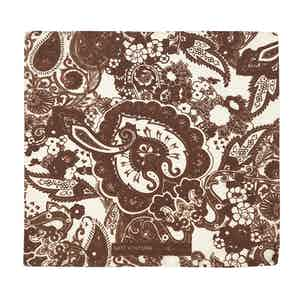 Brown and White Salice Floral and Paisley Pattern Pattern Silk and Cotton Pocket Square