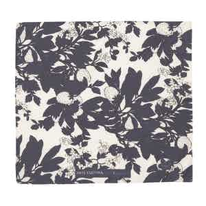Blue and White Salice Illustrated Floral Pattern Silk and Cotton Pocket Square