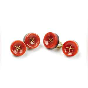 Coral and Gold Cufflinks