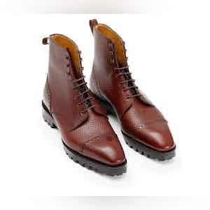 Mahogany Pebble Grain Alpine Leather Urban Commando Boot