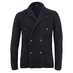 Navy Double-Breasted Cashmere Cardigan