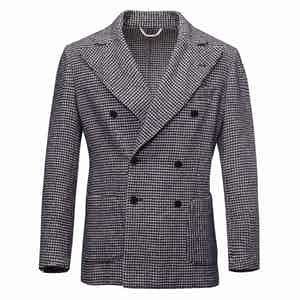 Navy and White Houndstooth Unlined Double-Breasted Wool Jacket
