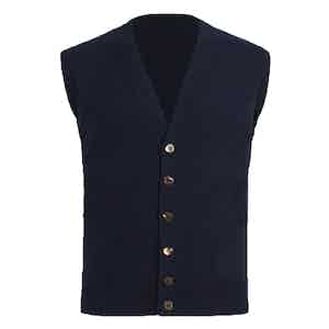 Navy Knitted Cashmere Waistcoat