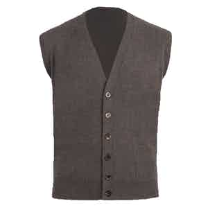 Taupe Knitted Cashmere Waistcoat