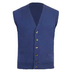 Blue Knitted Cashmere Waistcoat