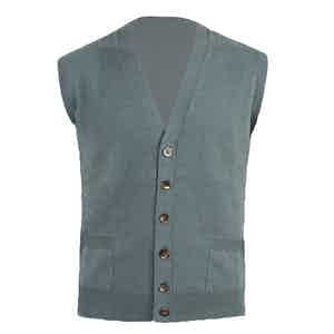 Green Knitted Cashmere Waistcoat