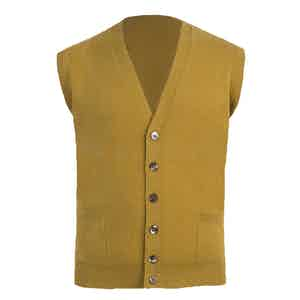 Mustard Knitted Cashmere Waistcoat