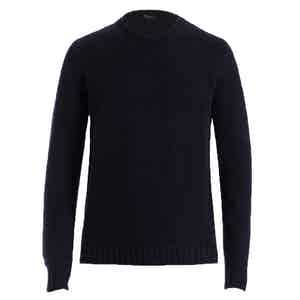 Dark Blue Crew Neck Cashmere Sweater