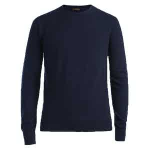 Blue Crew Neck Cashmere Sweater