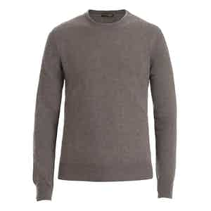 Taupe Crew Neck Cashmere Sweater