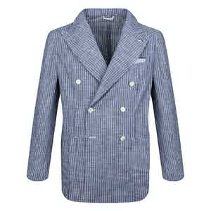 White and Blue Stripe Cotton Double-Breasted Blazer